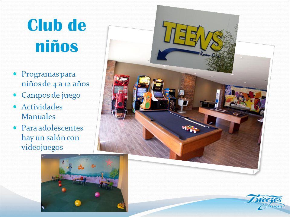 Club de niños Programas para niños de 4 a 12 años Campos de juego Actividades Manuales Para adolescentes hay un salón con videojuegos