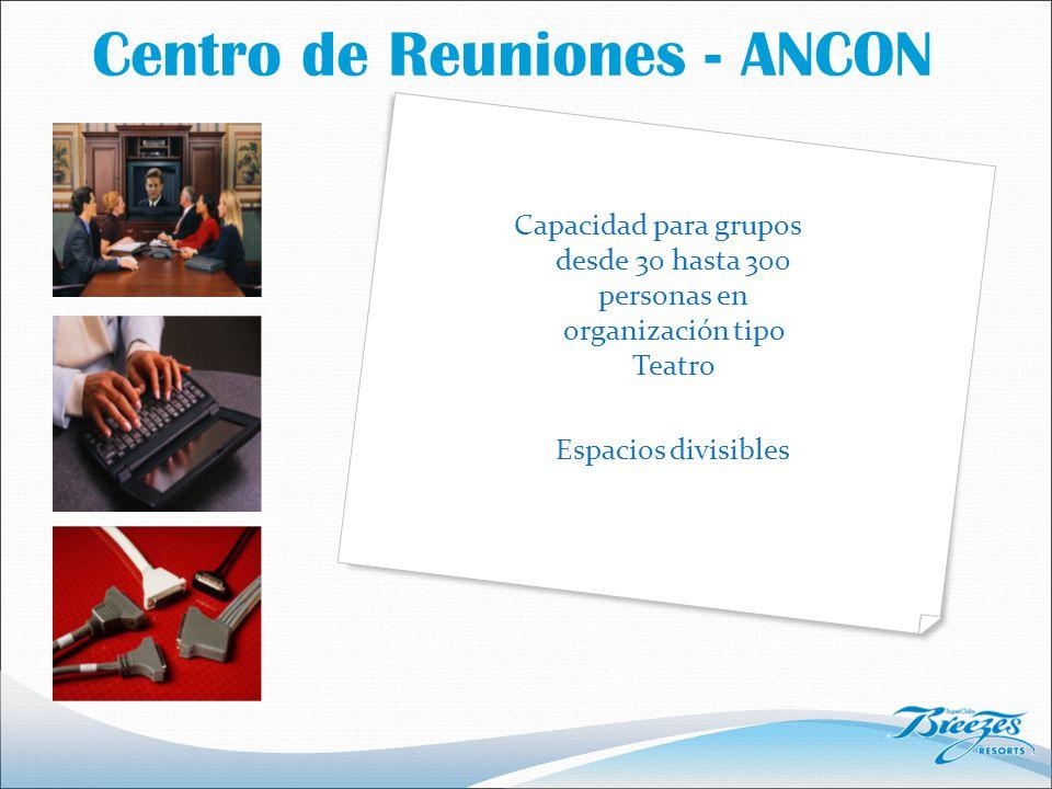 Centro de Reuniones - ANCON Capacidad para grupos desde 30 hasta 300 personas en organización tipo Teatro Espacios divisibles