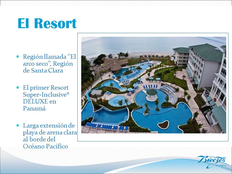 Región llamada ''El arco seco'', Región de Santa Clara El primer Resort Super-Inclusive® DELUXE en Panamá Larga extensión de playa de arena clara al borde del Océano Pacífico El Resort