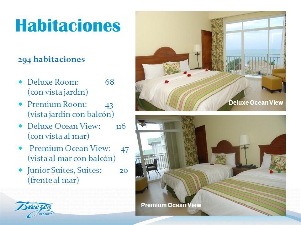 Habitaciones 294 habitaciones Deluxe Room: 68 (con vista jardín) Premium Room: 43 (vista jardín con balcón) Deluxe Ocean View: 116 (con vista al mar) Premium Ocean View: 47 (vista al mar con balcón) Junior Suites, Suites: 20 (frente al mar) Deluxe Ocean View Premium Ocean View