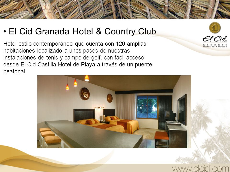 El Cid Granada Hotel & Country Club Hotel estilo contemporáneo que cuenta con 120 amplias habitaciones localizado a unos pasos de nuestras instalaciones de tenis y campo de golf, con fácil acceso desde El Cid Castilla Hotel de Playa a través de un puente peatonal.