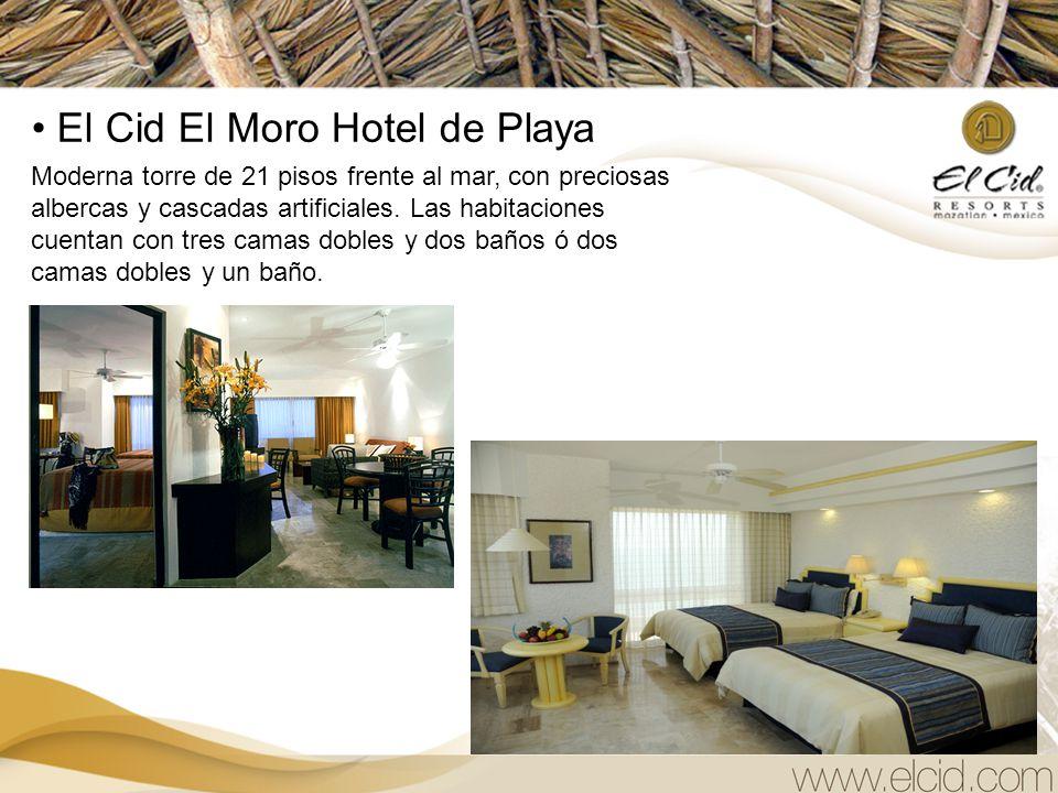 El Cid El Moro Hotel de Playa Moderna torre de 21 pisos frente al mar, con preciosas albercas y cascadas artificiales.