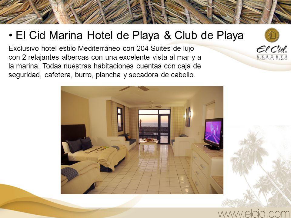 El Cid El Moro Hotel de Playa Moderna torre de 21 pisos frente al mar, con preciosas albercas y cascadas artificiales. Las habitaciones cuentan con tr