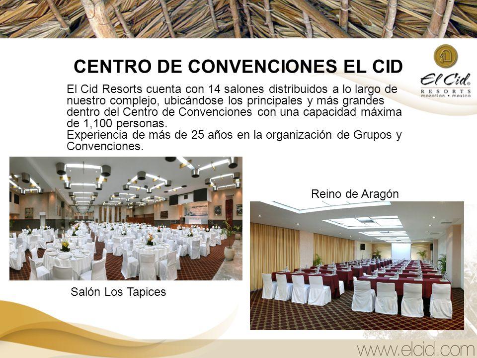 CENTRO DE CONVENCIONES EL CID El Cid Resorts cuenta con 14 salones distribuidos a lo largo de nuestro complejo, ubicándose los principales y más grandes dentro del Centro de Convenciones con una capacidad máxima de 1,100 personas.
