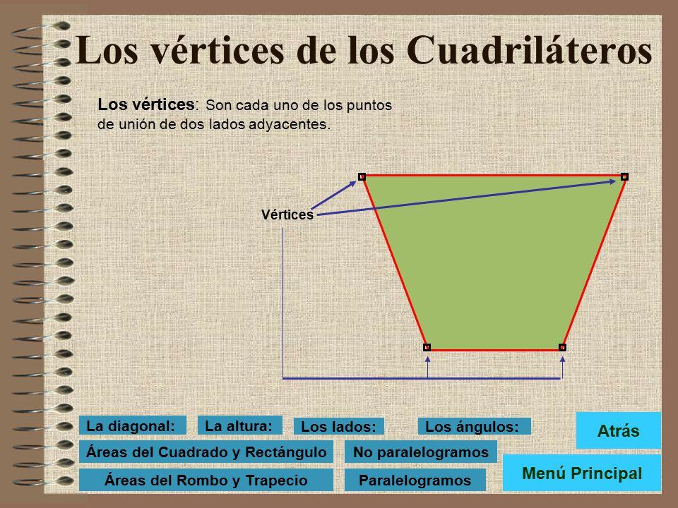 Los lados del Cuadrilátero: Denominamos lados a c ada uno de los segmentos que forman el cuadrilátero. Lados: AB, BC, CD y DA El lado sobre el que rep