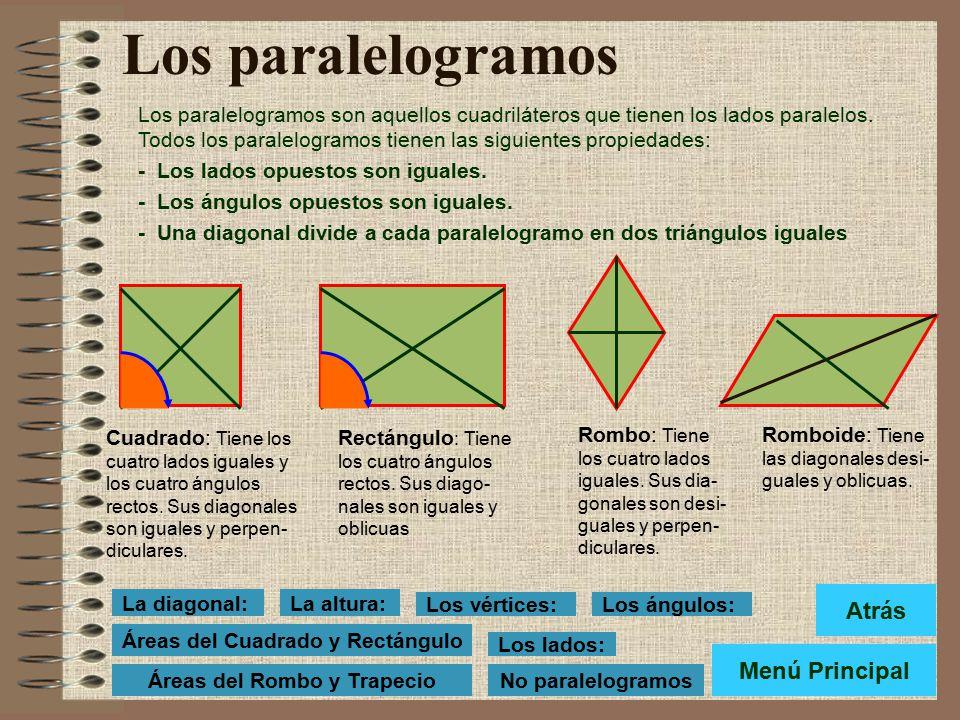 La altura del Cuadrilátero: La altura: Es el segmento perpendicular trazado desde uno de los vértices al lado opuesto o a su prolongación. Altura Menú
