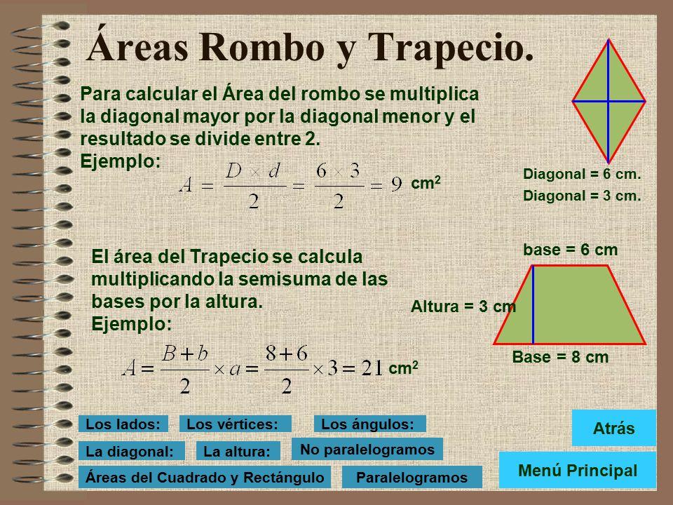 Áreas del Cuadrado y Rectángulo. Para calcular el Área del cuadrado se multiplica el lado por sí mismo. Ejemplo: Base = 12 cm Lado = 7 cm. Área = l x