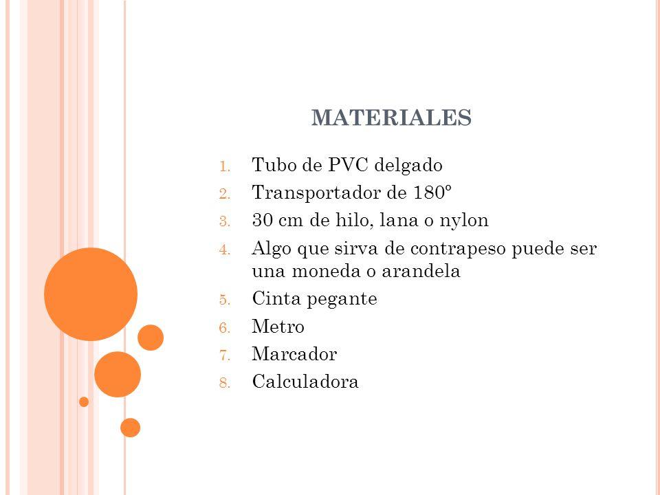 MATERIALES 1. Tubo de PVC delgado 2. Transportador de 180º 3. 30 cm de hilo, lana o nylon 4. Algo que sirva de contrapeso puede ser una moneda o arand