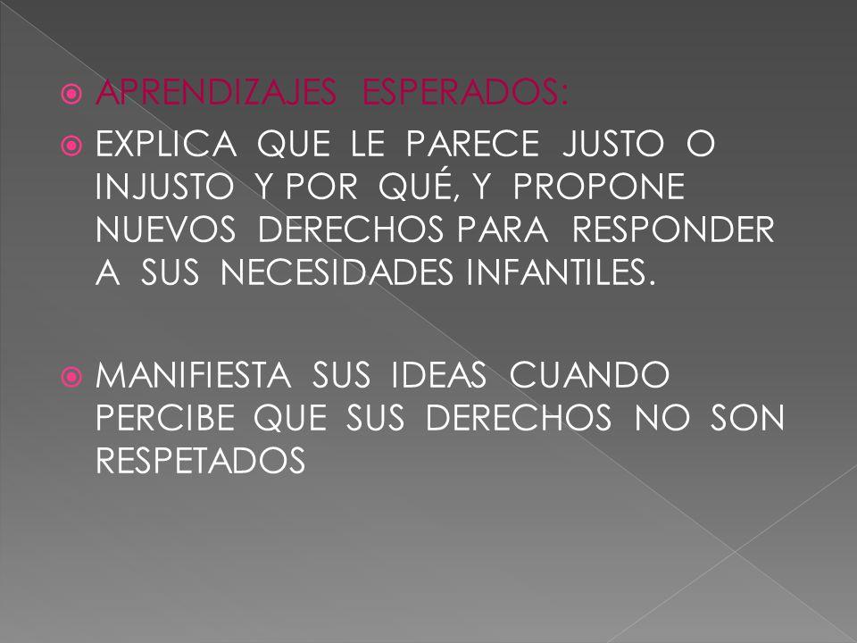  APRENDIZAJES ESPERADOS:  EXPLICA QUE LE PARECE JUSTO O INJUSTO Y POR QUÉ, Y PROPONE NUEVOS DERECHOS PARA RESPONDER A SUS NECESIDADES INFANTILES.