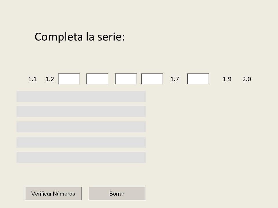 Completa la serie: 1.11.22.01.71.9