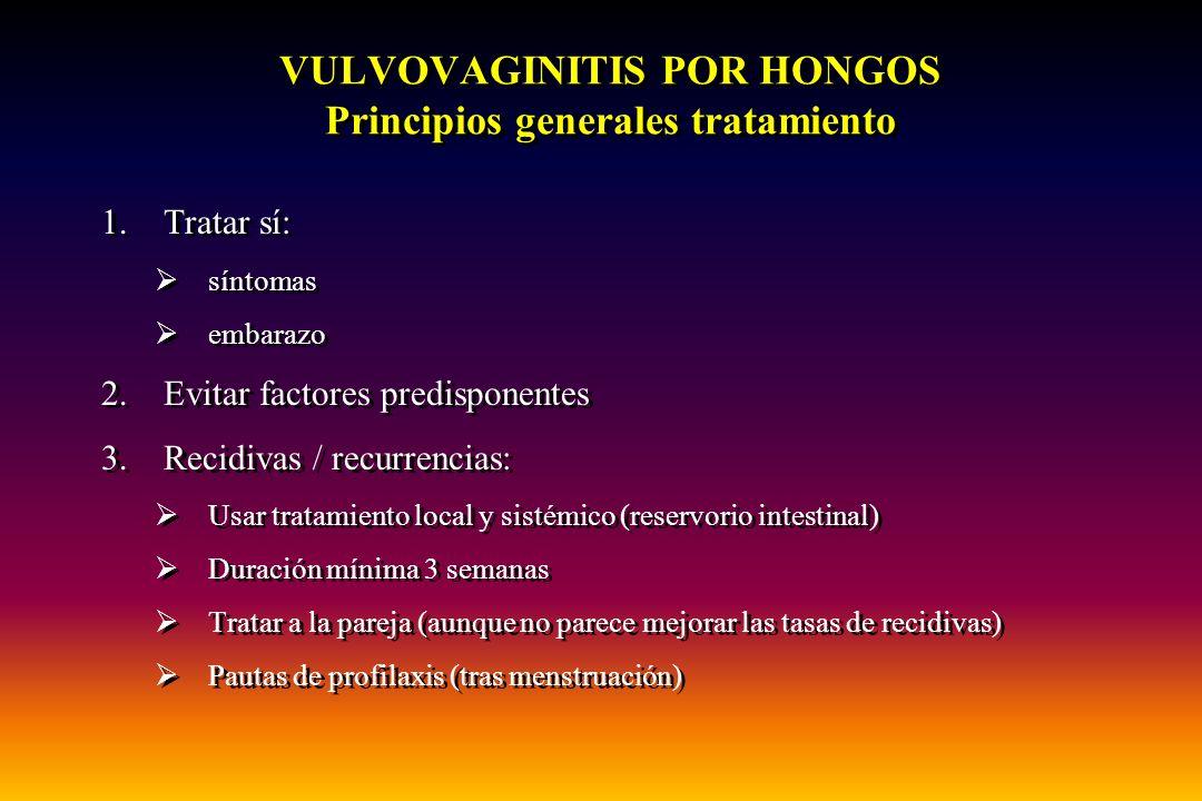 VULVOVAGINITIS POR HONGOS Principios generales tratamiento 1.Tratar sí:  síntomas  embarazo 2.Evitar factores predisponentes 3.Recidivas / recurrenc