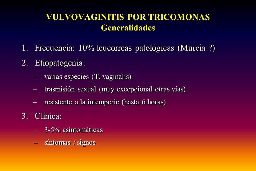 VULVOVAGINITIS POR TRICOMONAS Generalidades 1.Frecuencia: 10% leucorreas patológicas (Murcia ?) 2.Etiopatogenia: –varias especies (T. vaginalis) –tras