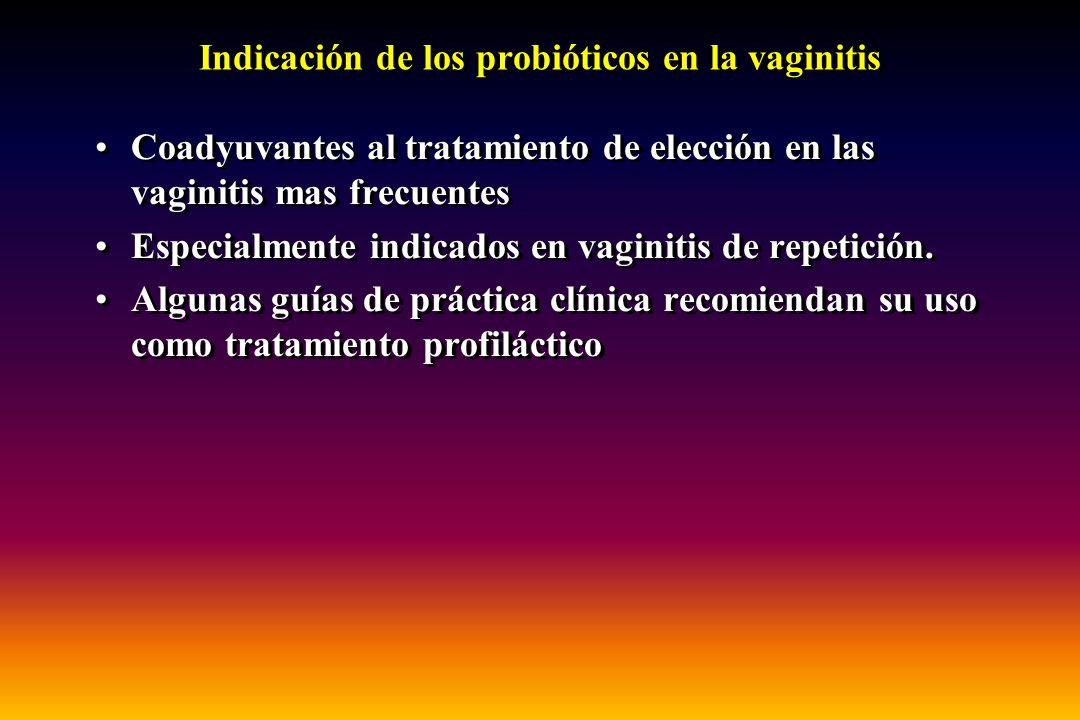 Indicación de los probióticos en la vaginitis Coadyuvantes al tratamiento de elección en las vaginitis mas frecuentes Especialmente indicados en vagin