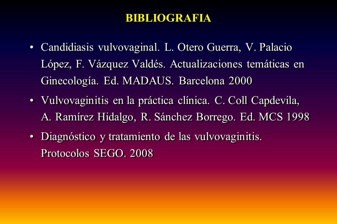 BIBLIOGRAFIA Candidiasis vulvovaginal. L. Otero Guerra, V. Palacio López, F. Vázquez Valdés. Actualizaciones temáticas en Ginecología. Ed. MADAUS. Bar