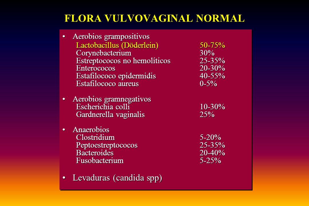Aerobios grampositivosAerobios grampositivos Lactobacillus (Döderlein)50-75% Corynebacterium30% Estreptococos no hemolíticos25-35% Enterococos20-30% E
