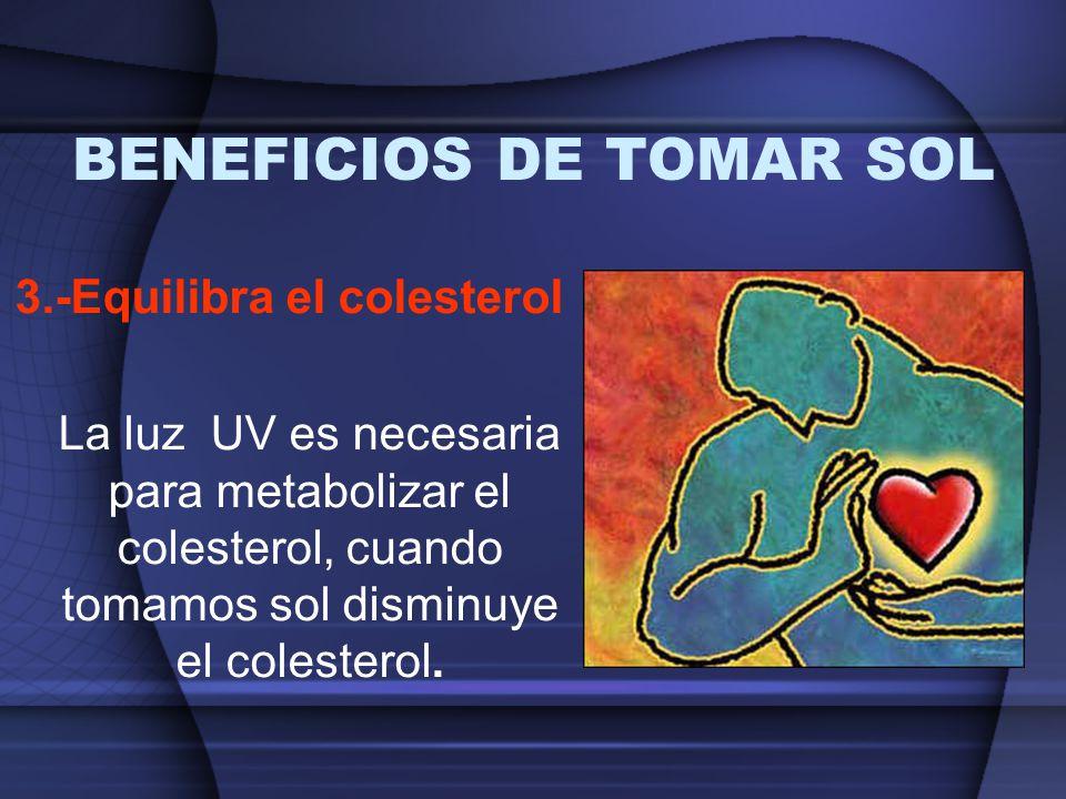 BENEFICIOS DE TOMAR SOL 3.-Equilibra el colesterol La luz UV es necesaria para metabolizar el colesterol, cuando tomamos sol disminuye el colesterol.