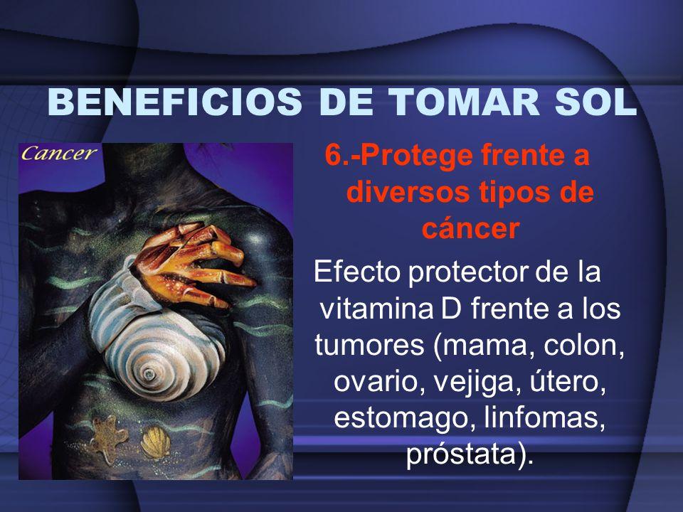 BENEFICIOS DE TOMAR SOL 6.-Protege frente a diversos tipos de cáncer Efecto protector de la vitamina D frente a los tumores (mama, colon, ovario, veji