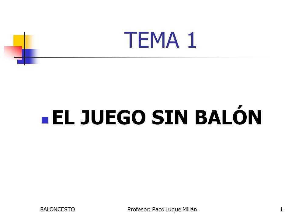 BALONCESTOProfesor: Paco Luque Millán.1 TEMA 1 EL JUEGO SIN BALÓN