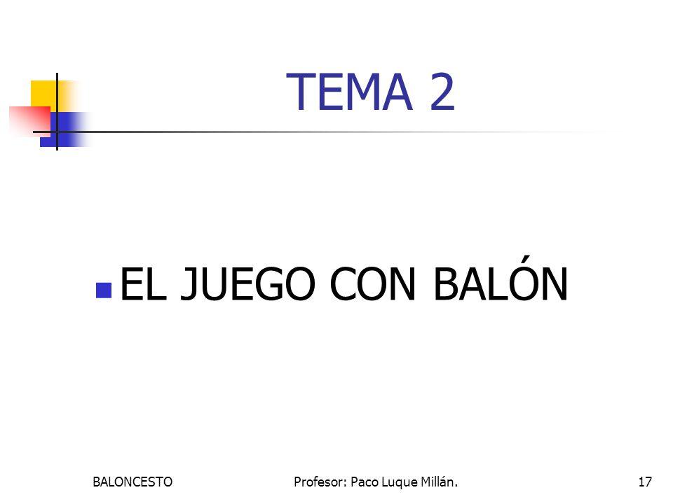 BALONCESTOProfesor: Paco Luque Millán.17 TEMA 2 EL JUEGO CON BALÓN