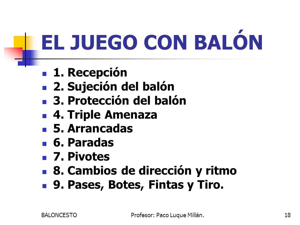 BALONCESTOProfesor: Paco Luque Millán.18 EL JUEGO CON BALÓN 1. Recepción 2. Sujeción del balón 3. Protección del balón 4. Triple Amenaza 5. Arrancadas