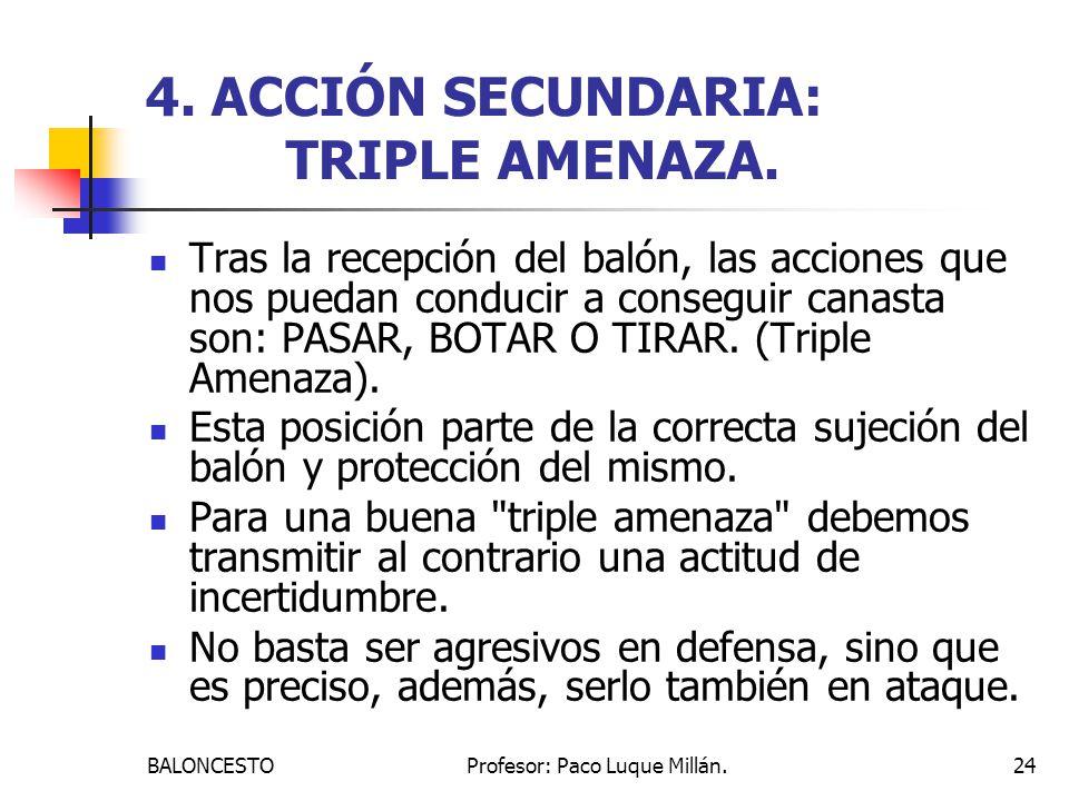 BALONCESTOProfesor: Paco Luque Millán.24 4.ACCIÓN SECUNDARIA: TRIPLE AMENAZA.