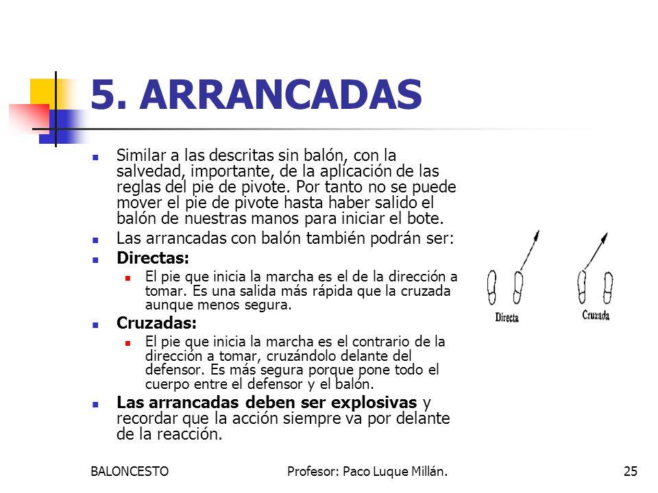 BALONCESTOProfesor: Paco Luque Millán.25 5. ARRANCADAS Similar a las descritas sin balón, con la salvedad, importante, de la aplicación de las reglas