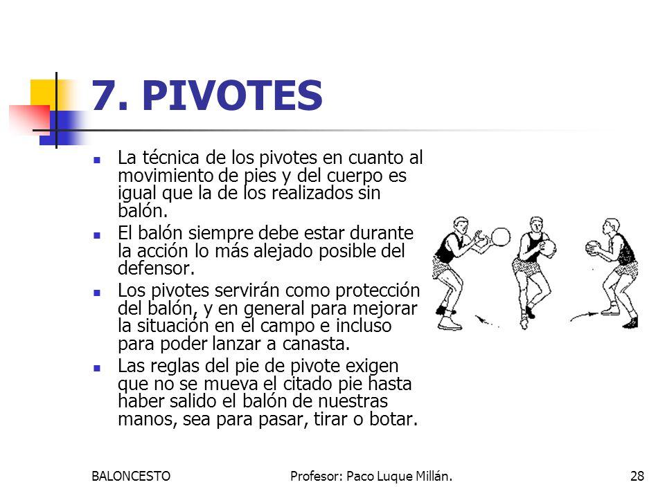 BALONCESTOProfesor: Paco Luque Millán.28 7. PIVOTES La técnica de los pivotes en cuanto al movimiento de pies y del cuerpo es igual que la de los real