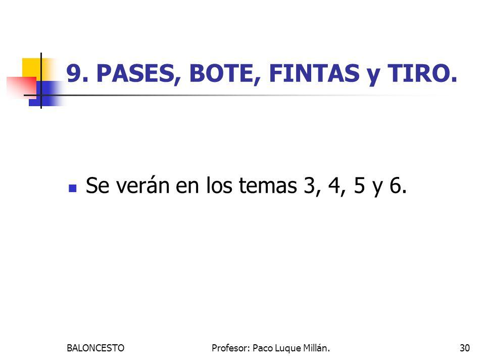 BALONCESTOProfesor: Paco Luque Millán.30 9. PASES, BOTE, FINTAS y TIRO. Se verán en los temas 3, 4, 5 y 6.