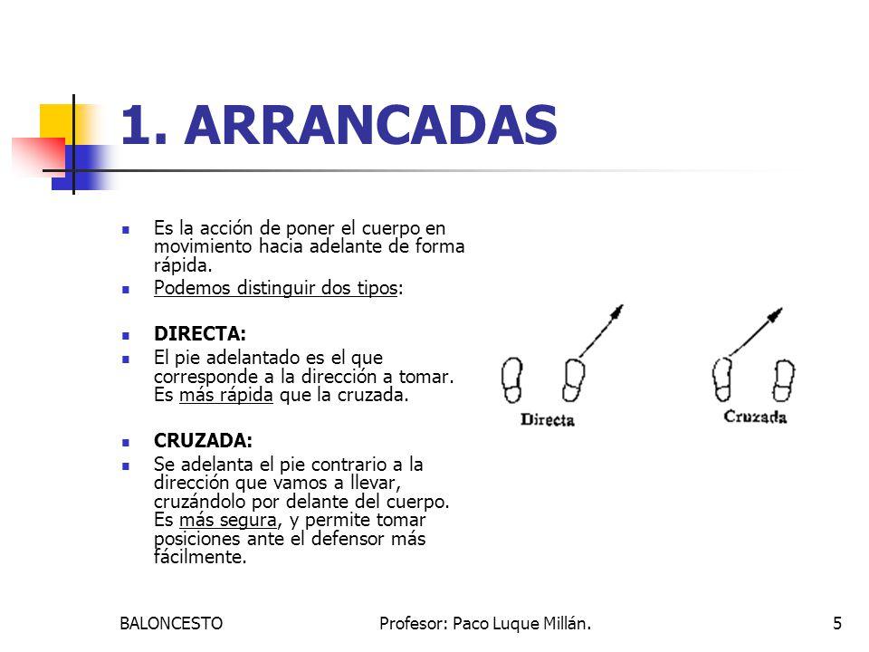 BALONCESTOProfesor: Paco Luque Millán.5 1. ARRANCADAS Es la acción de poner el cuerpo en movimiento hacia adelante de forma rápida. Podemos distinguir
