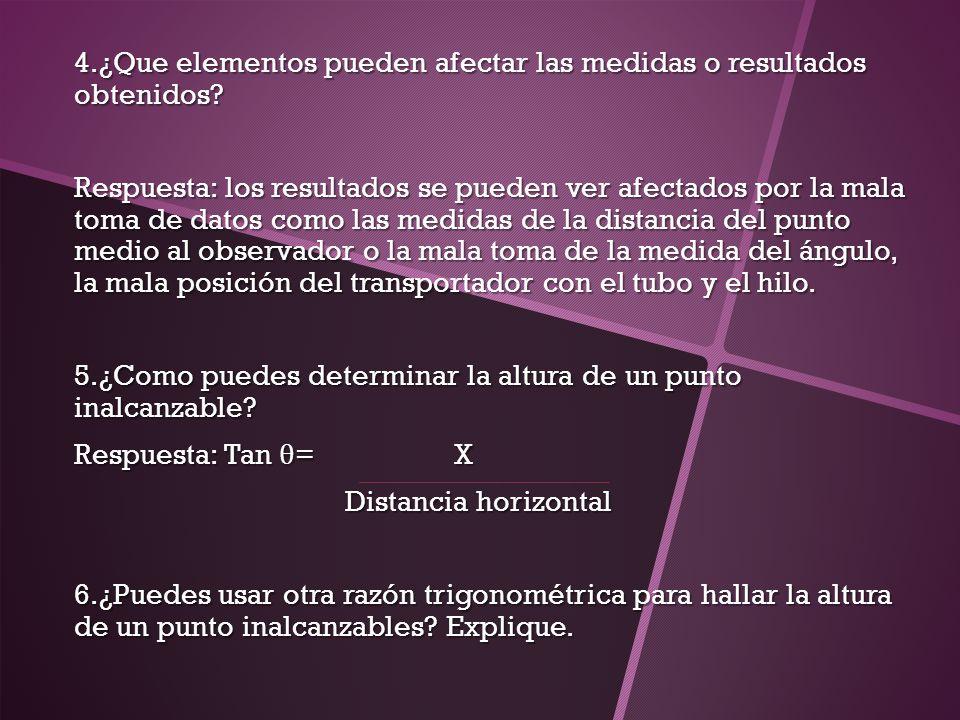 4.¿Que elementos pueden afectar las medidas o resultados obtenidos? Respuesta: los resultados se pueden ver afectados por la mala toma de datos como l