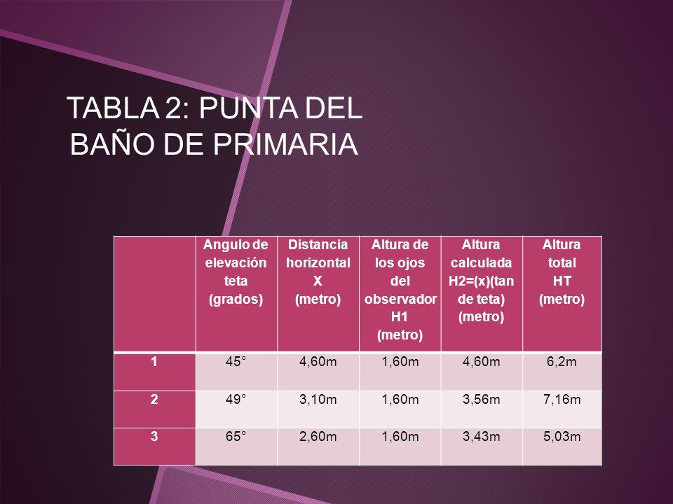 TABLA 2: PUNTA DEL BAÑO DE PRIMARIA Angulo de elevación teta (grados) Distancia horizontal X (metro) Altura de los ojos del observador H1 (metro) Altu
