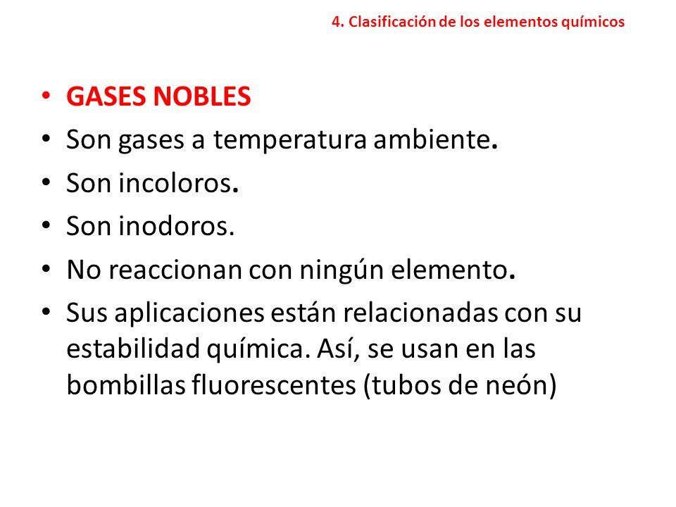 4.Clasificación de los elementos químicos GASES NOBLES Son gases a temperatura ambiente.