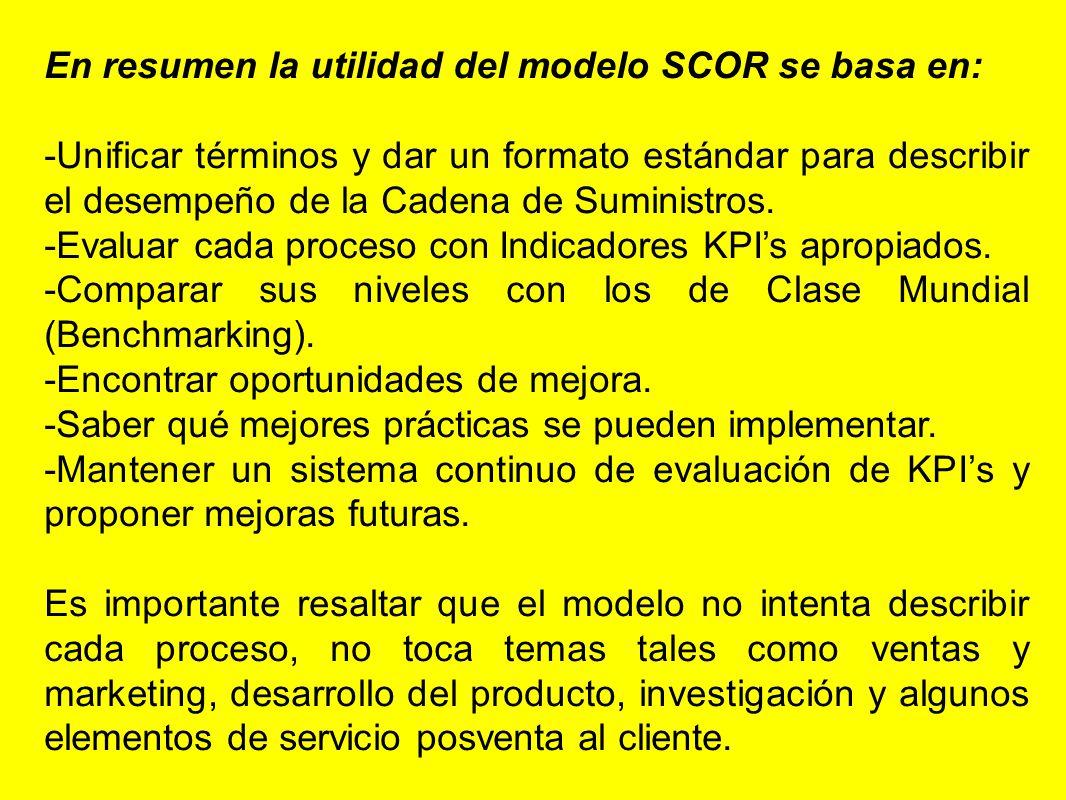 En resumen la utilidad del modelo SCOR se basa en: -Unificar términos y dar un formato estándar para describir el desempeño de la Cadena de Suministro
