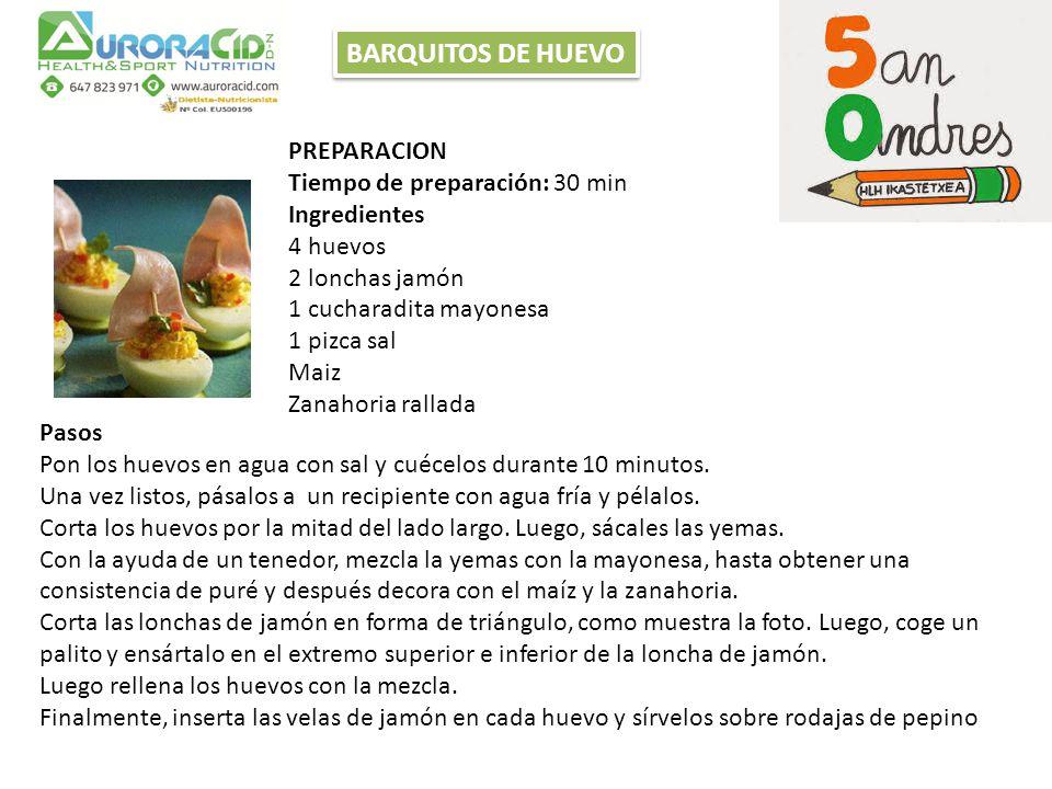 PREPARACION Tiempo de preparación: 30 min Ingredientes 4 huevos 2 lonchas jamón 1 cucharadita mayonesa 1 pizca sal Maiz Zanahoria rallada Pasos Pon los huevos en agua con sal y cuécelos durante 10 minutos.