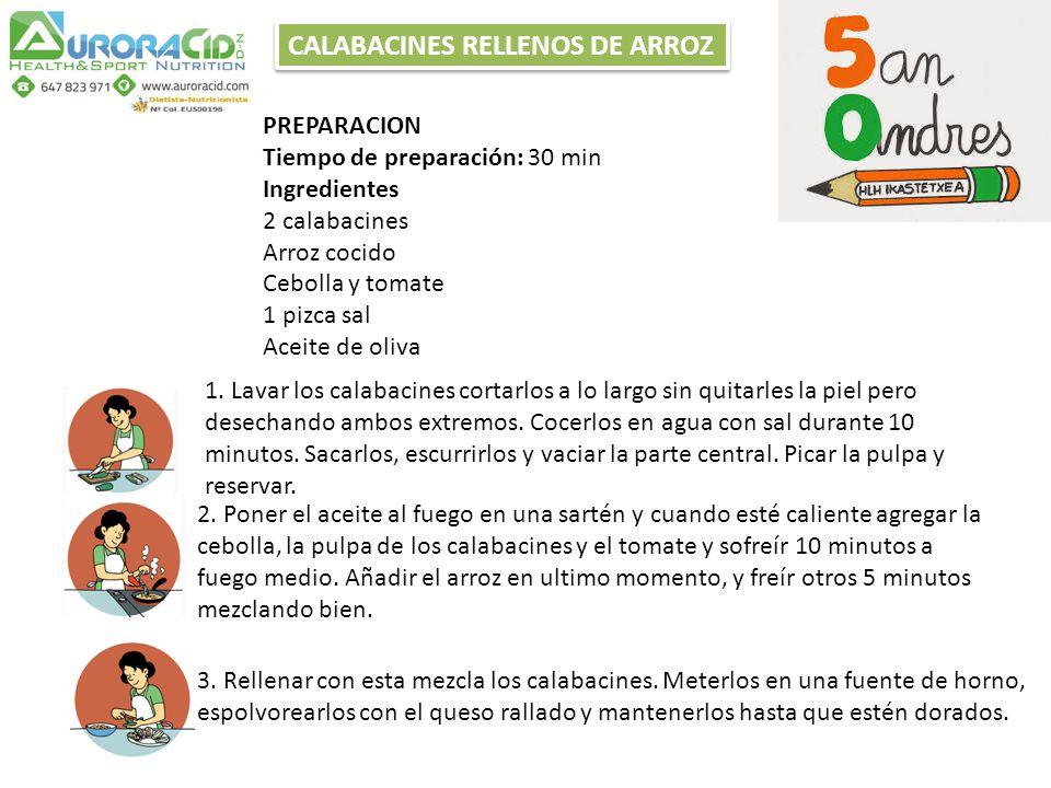 CALABACINES RELLENOS DE ARROZ PREPARACION Tiempo de preparación: 30 min Ingredientes 2 calabacines Arroz cocido Cebolla y tomate 1 pizca sal Aceite de oliva 1.