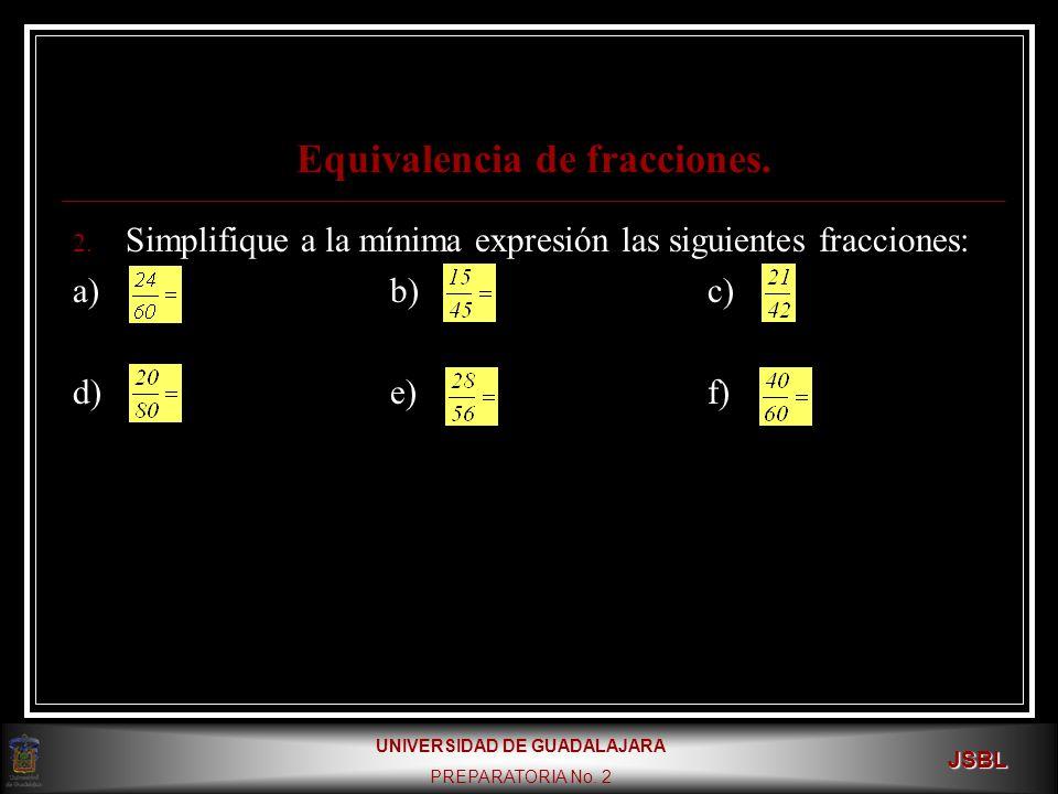UNIVERSIDAD DE GUADALAJARA PREPARATORIA No.2 JSBL Equivalencia de fracciones.