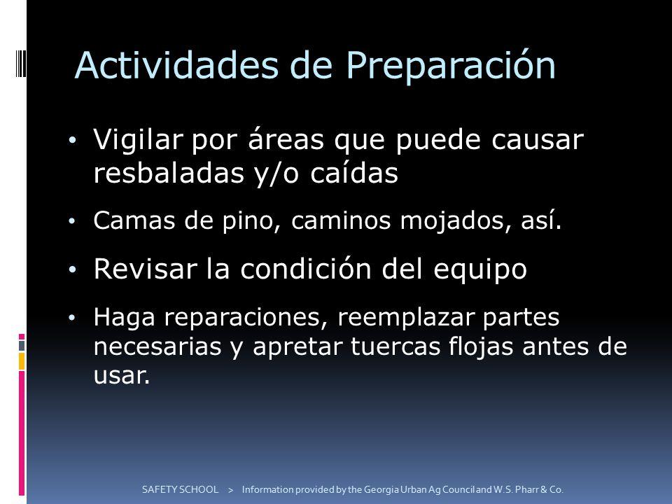 Actividades de Preparación Vigilar por áreas que puede causar resbaladas y/o caídas Camas de pino, caminos mojados, así.
