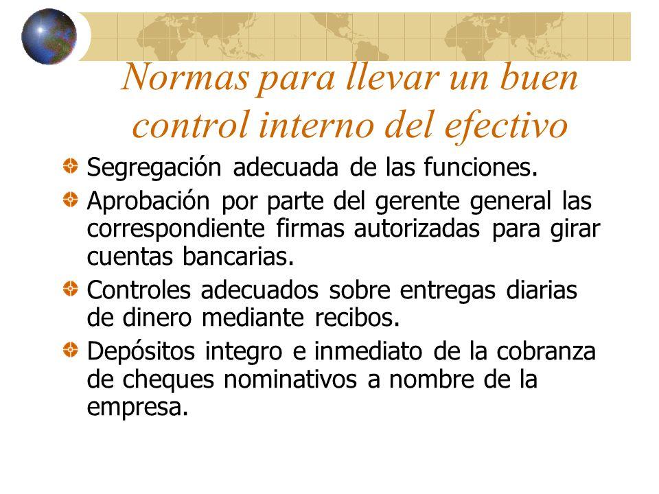 Normas para Llevar un buen control del efectivo Autorización previa de la salida de dinero y emisión de cheques nominativos.