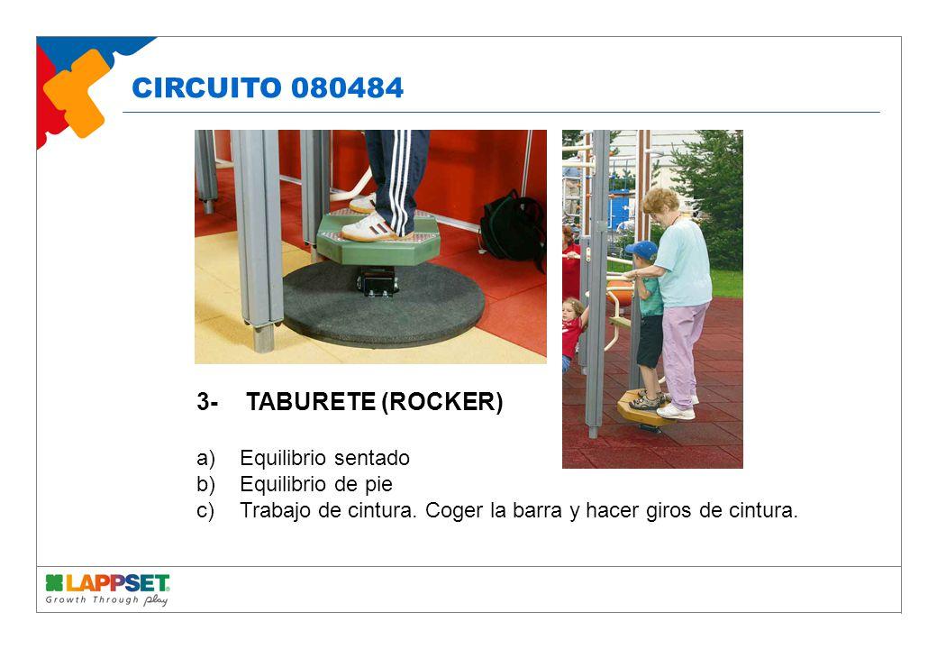 3- TABURETE (ROCKER) a)Equilibrio sentado b)Equilibrio de pie c)Trabajo de cintura.