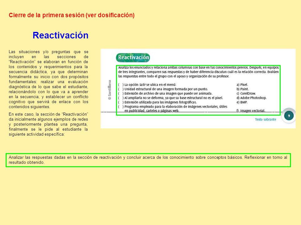 Analizar las respuestas dadas en la sección de reactivación y concluir acerca de los conocimiento sobre conceptos básicos.