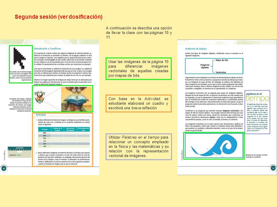 Segunda sesión (ver dosificación) Usar las imágenes de la página 10 para diferenciar imágenes vectoriales de aquellas creadas por mapas de bits.