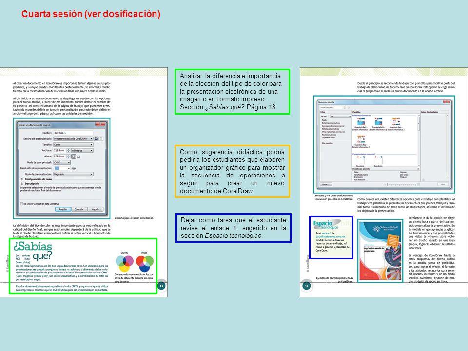 Cuarta sesión (ver dosificación) Analizar la diferencia e importancia de la elección del tipo de color para la presentación electrónica de una imagen o en formato impreso.