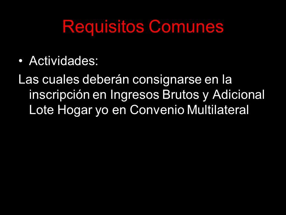 Requisitos Comunes Actividades: Las cuales deberán consignarse en la inscripción en Ingresos Brutos y Adicional Lote Hogar yo en Convenio Multilateral