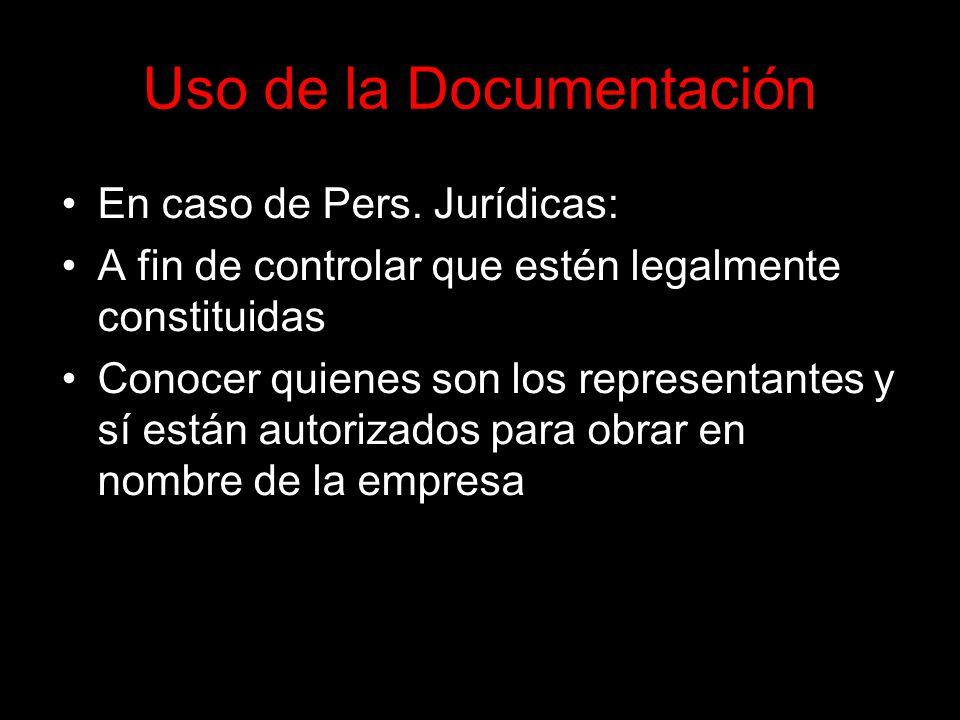 Uso de la Documentación En caso de Pers.