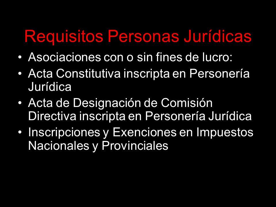 Requisitos Personas Jurídicas Asociaciones con o sin fines de lucro: Acta Constitutiva inscripta en Personería Jurídica Acta de Designación de Comisión Directiva inscripta en Personería Jurídica Inscripciones y Exenciones en Impuestos Nacionales y Provinciales