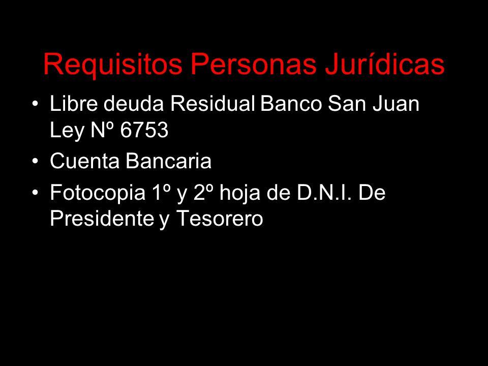 Requisitos Personas Jurídicas Libre deuda Residual Banco San Juan Ley Nº 6753 Cuenta Bancaria Fotocopia 1º y 2º hoja de D.N.I.