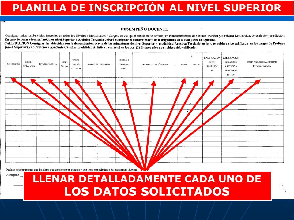 PLANILLA DE INSCRIPCIÓN AL NIVEL SUPERIOR LLENAR DETALLADAMENTE CADA UNO DE LOS DATOS SOLICITADOS