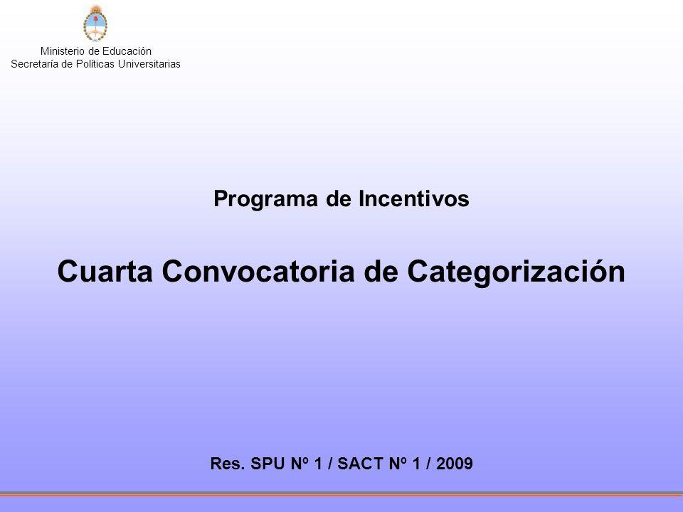 Ministerio de Educación Secretaría de Políticas Universitarias Programa de Incentivos Cuarta Convocatoria de Categorización Res.