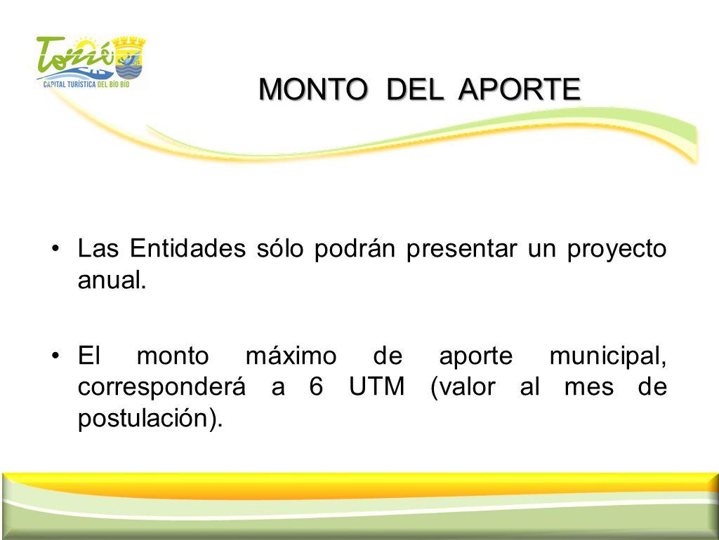 MONTO DEL APORTE MONTO DEL APORTE Las Entidades sólo podrán presentar un proyecto anual. El monto máximo de aporte municipal, corresponderá a 6 UTM (v