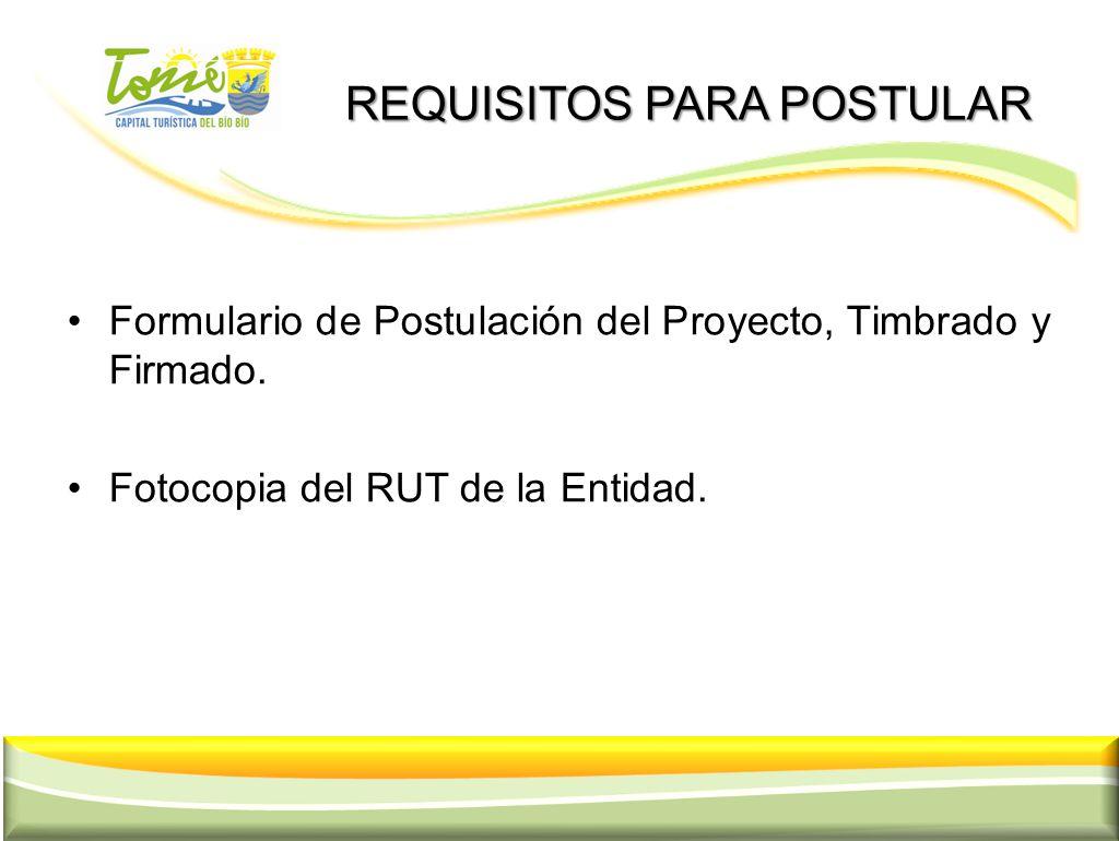 REQUISITOS PARA POSTULAR REQUISITOS PARA POSTULAR Formulario de Postulación del Proyecto, Timbrado y Firmado. Fotocopia del RUT de la Entidad. 18